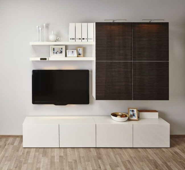 ikea besta regal aufbewahrungssystem weiss holzoptik dunkel tv kosole wohnwand bodengleich. Black Bedroom Furniture Sets. Home Design Ideas