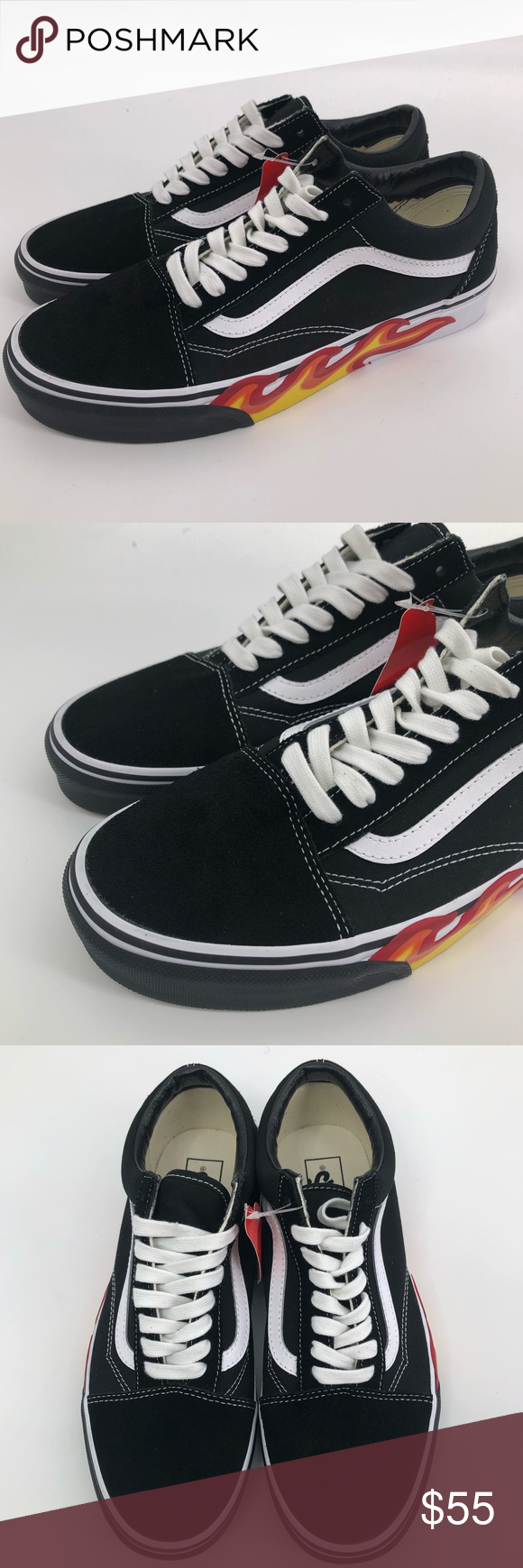 vans flame cut out old skool shoes
