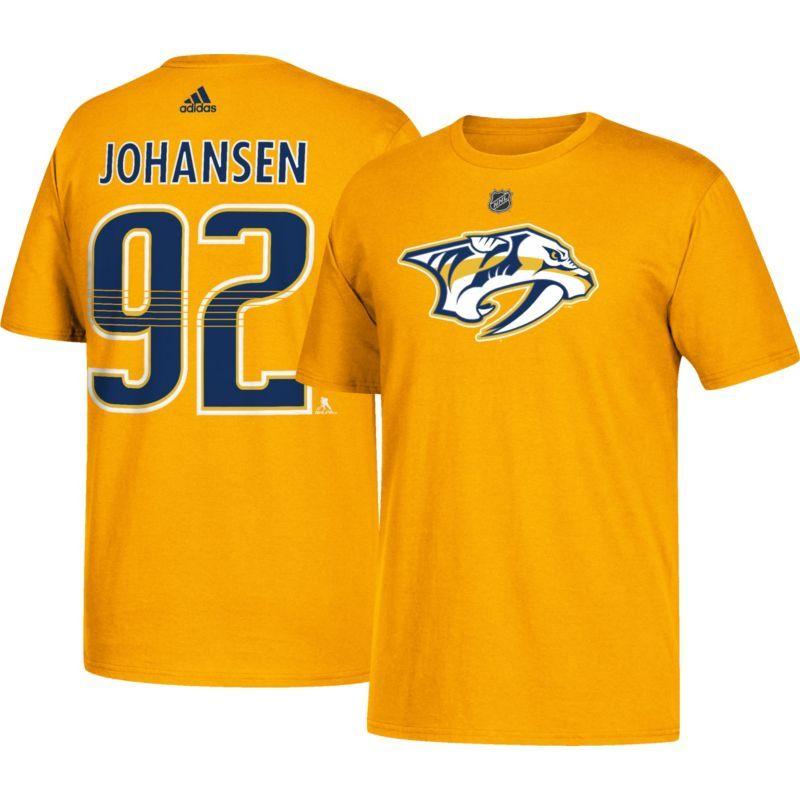 adidas Men s Nashville Predators Ryan Johansen  92 Gold T-Shirt ... 3c264897e