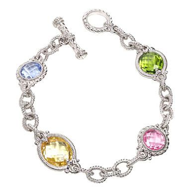 Judith Ripka Multi Stone Ambrosia Link Bracelet In Sterling Silver Added Two