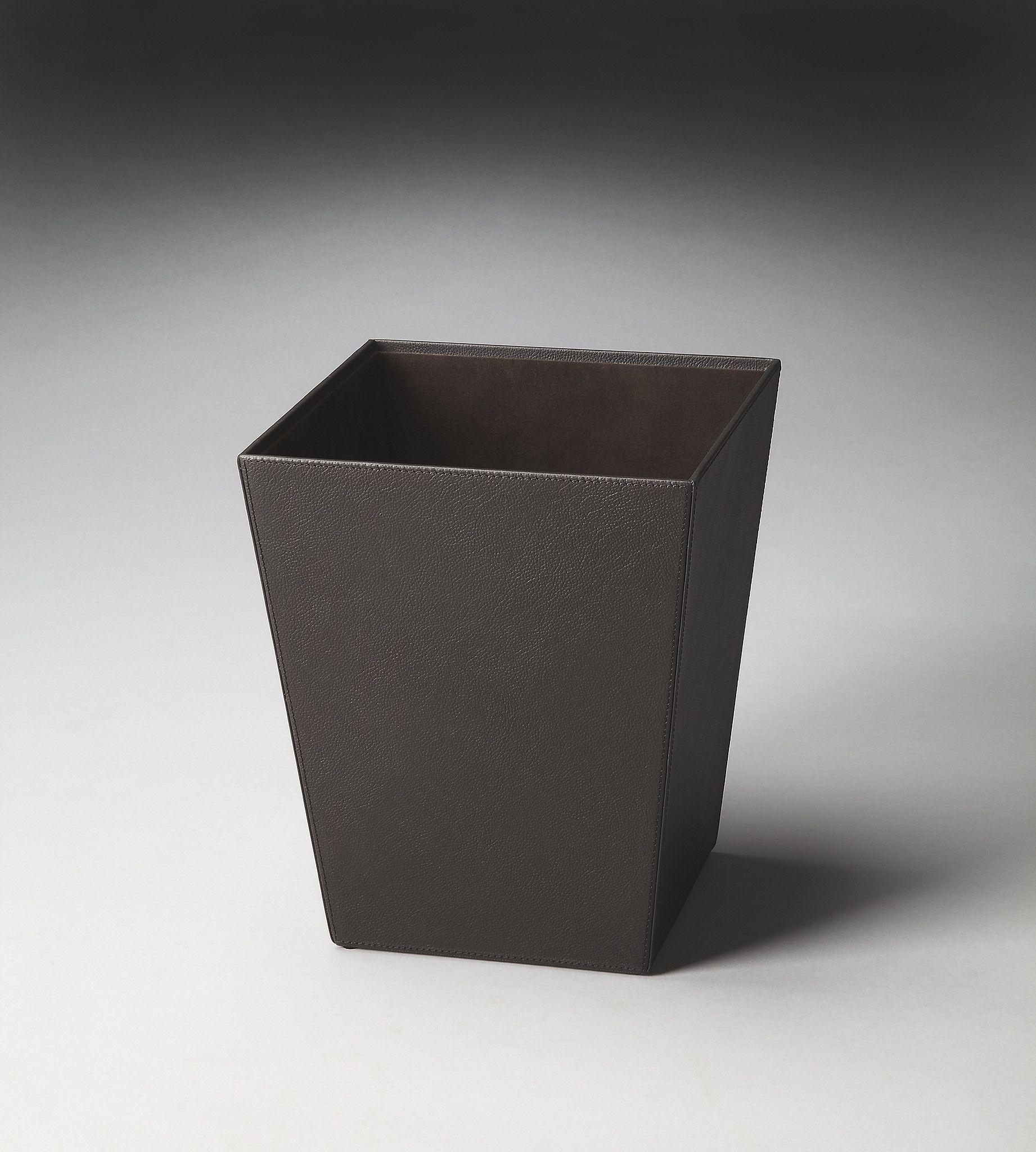 Lido Black Leather Storage Basket