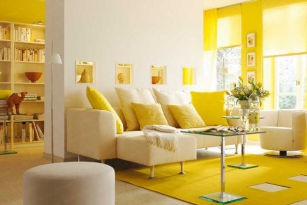 monochromatic: this room is cheerful and happy with warm colors that ...