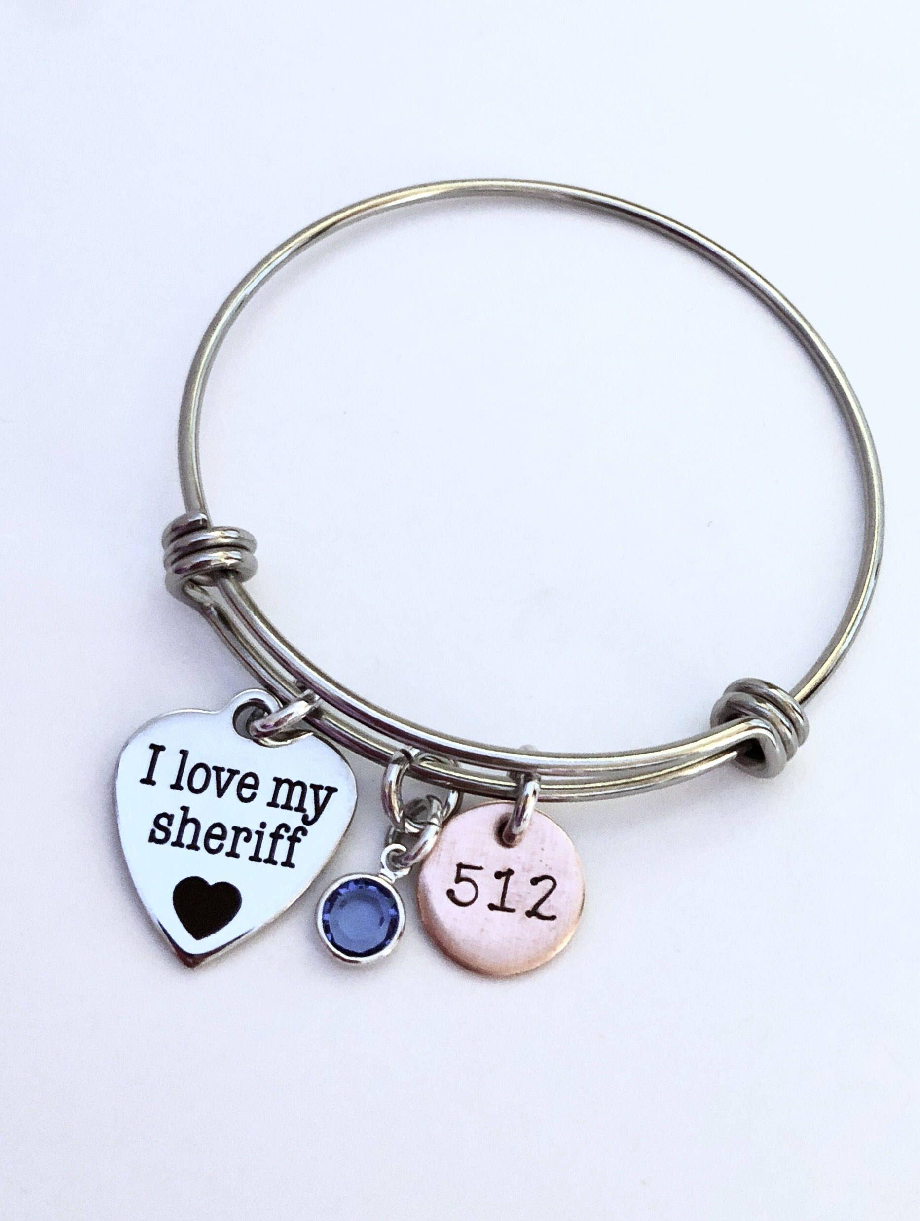 Police Wife Bracelet Adjustable Bangle Bracelet Sheriff Jewelry