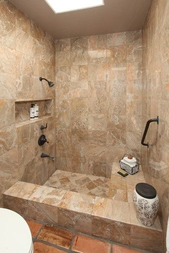 Mediterranean home shower tub combination design pictures for Show me pictures of remodeled bathrooms