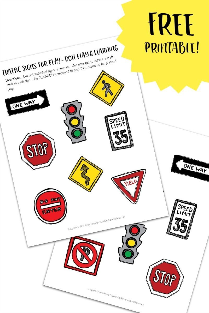 Printable Traffic Signs for Play & Learning | Play doh, Free ...