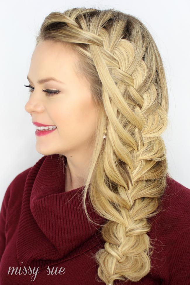 cascading waterfall side braid by missy sue