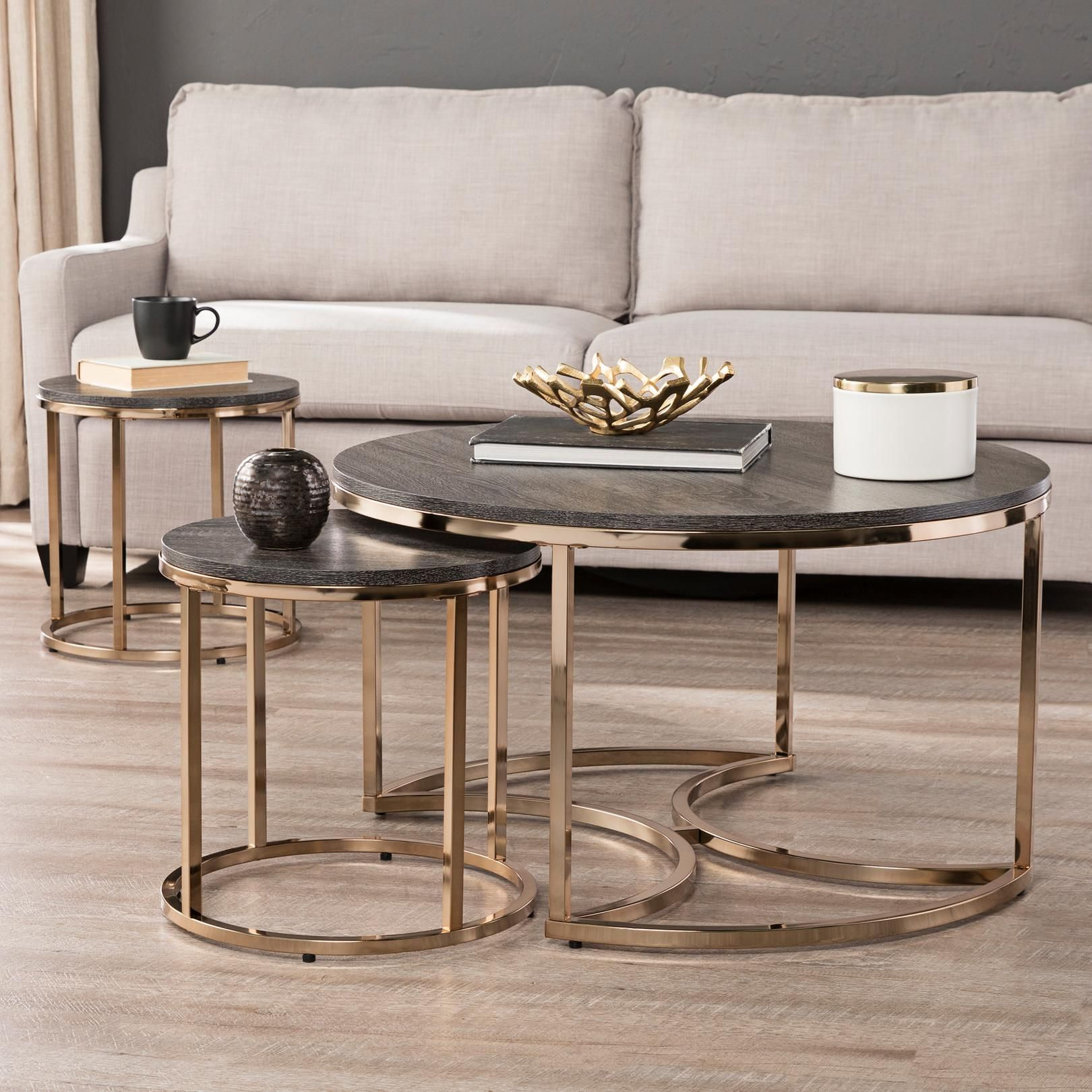 Tables Lachlan 32 Wide Espresso 3 Piece Round Nesting Tables Set In 2020 Center Table Living Room Nesting Tables Living Room Living Room Table Sets