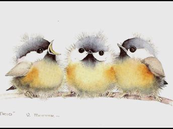 I have a print of this in my bathroom! Love these little chickadees. #Aquarell – #watercolorart