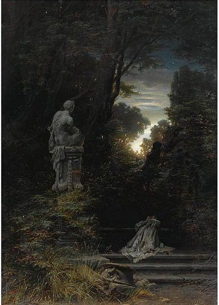 Ferdinand Knab - Woman at a Fountain With Rising Moon