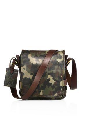 Polo Ralph Lauren Compact Leather Messenger Bag In Camo Modesens Handbags For Men Leather Messenger Bag Messenger Bag