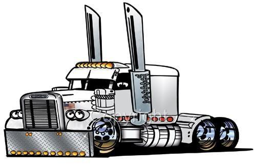 Semi Tractor Drawings : Big rig semi truck freight hauler cartoon t shirt wood