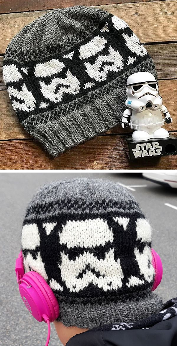 Free Knitting Pattern for Storm Trooper Beanie - Star Wars inspired hat knit with beginner-friendly stranded colorwork and a simple construction, this beanie would be a great introduction to fair isle knitting. Sport weight yarn. Designed by Lindsay Oncken (Bundle Handmade). Pictured project by the designer and MosterLina. #knittingpatternsfree