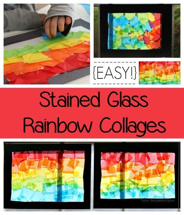 tissue paper rainbow craft for kids pinterest collage rainbows