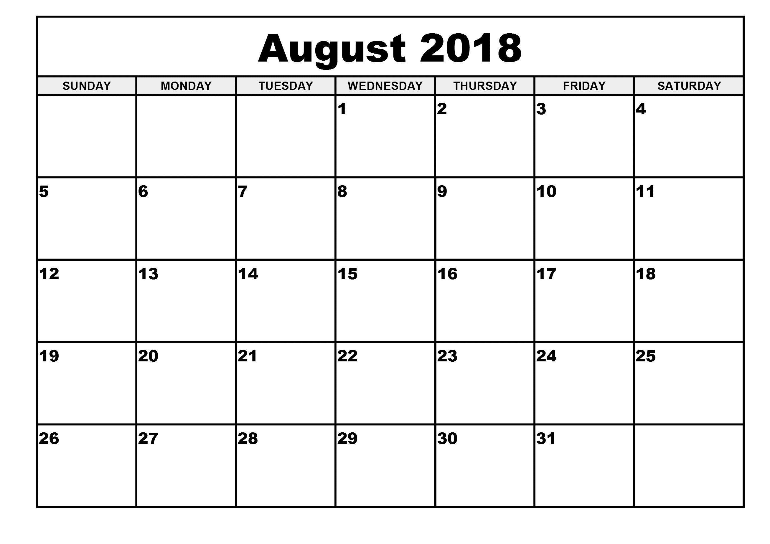 August Calendar 2018 Printable Worksheet Free August 2018 Calendar