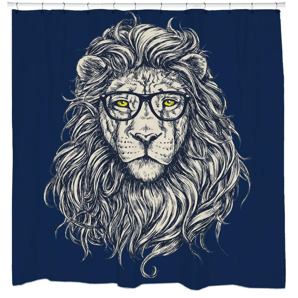 Wise Lion Shower Curtain Lion Vector Lion Art Lion Drawing