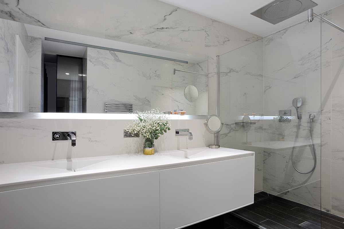 Appartement - Lyon - Luxe - Salle de bains - Carrelage type Marbre
