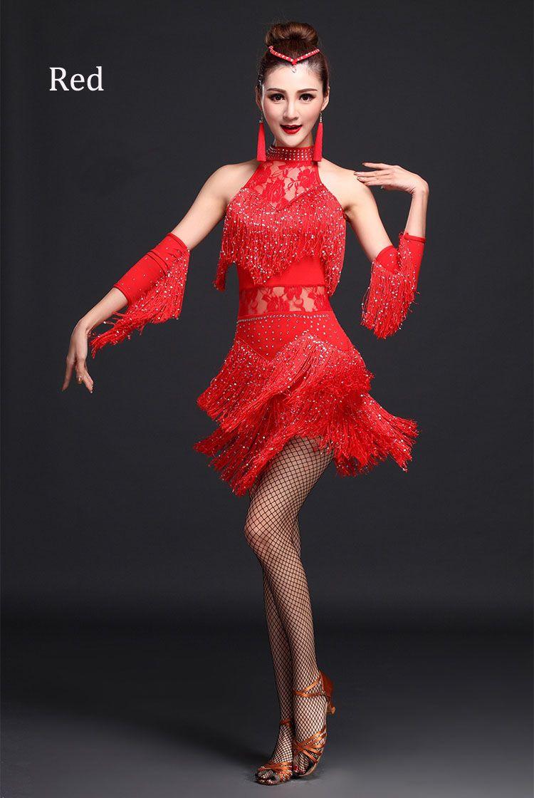 Paillettes franges latine Tango danse jupe femmes salle de bal robe de danse … eb5a63762fd