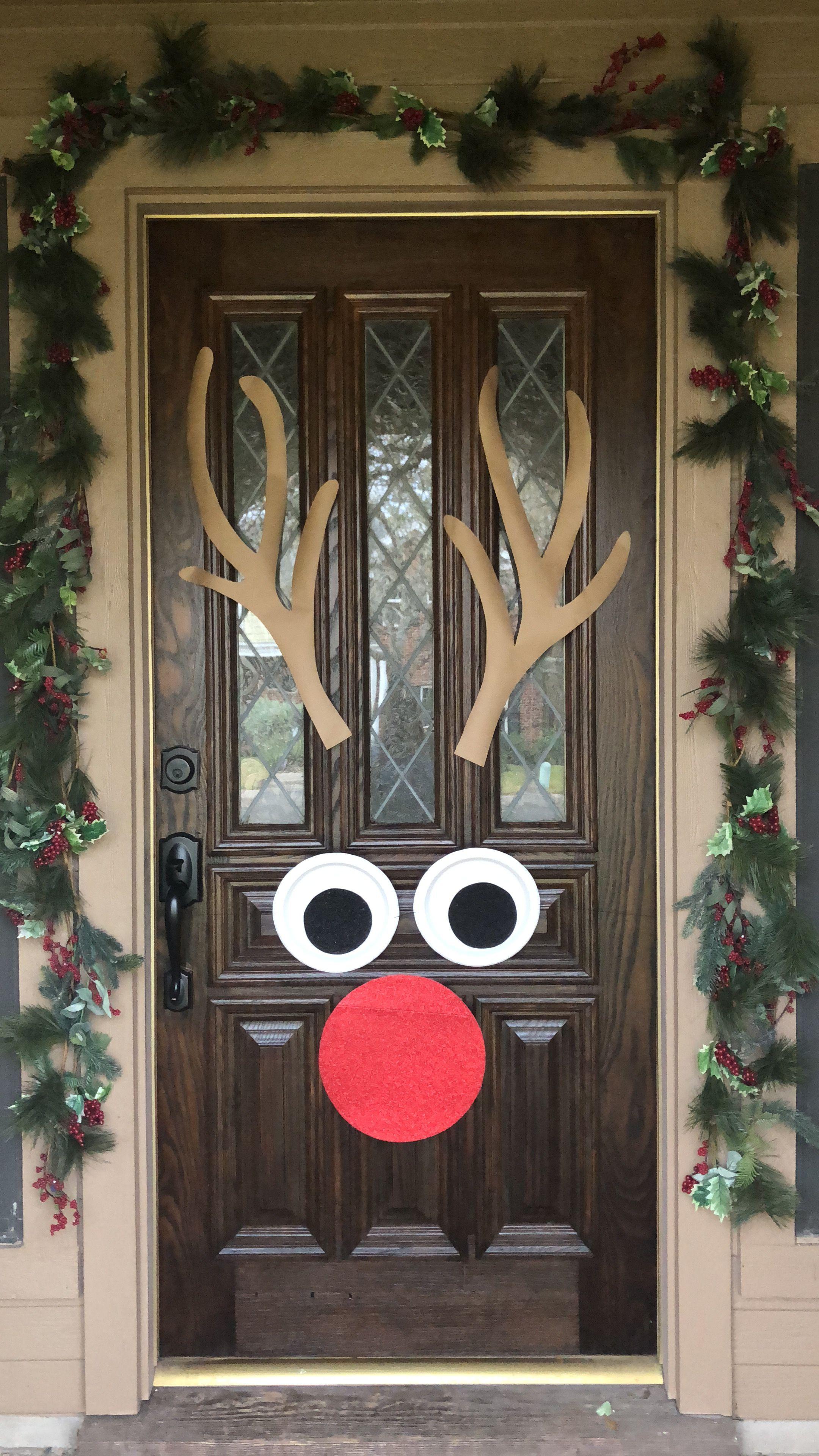 Reindeer door decor | Door decorations, Decor, Decorative ...