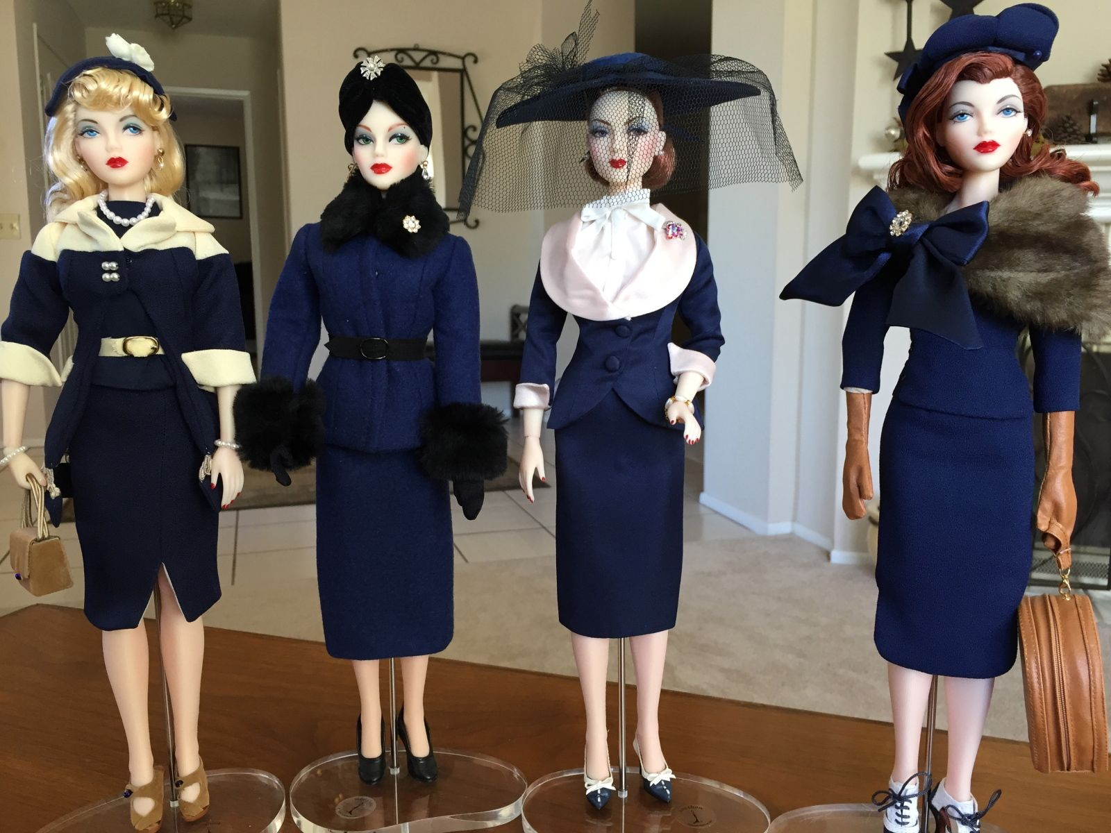 THE STUDIO COMMISSARY: Some of the girls dressed in navy to welcome Zita.
