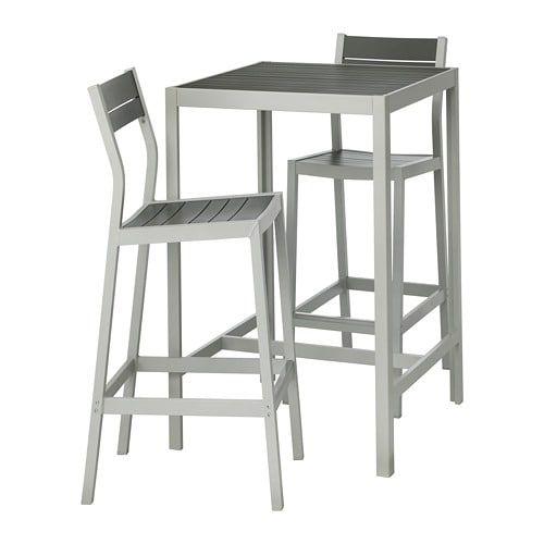 ikea sj lland bar table and 2 bar stools outdoor dark gray light rh pinterest com