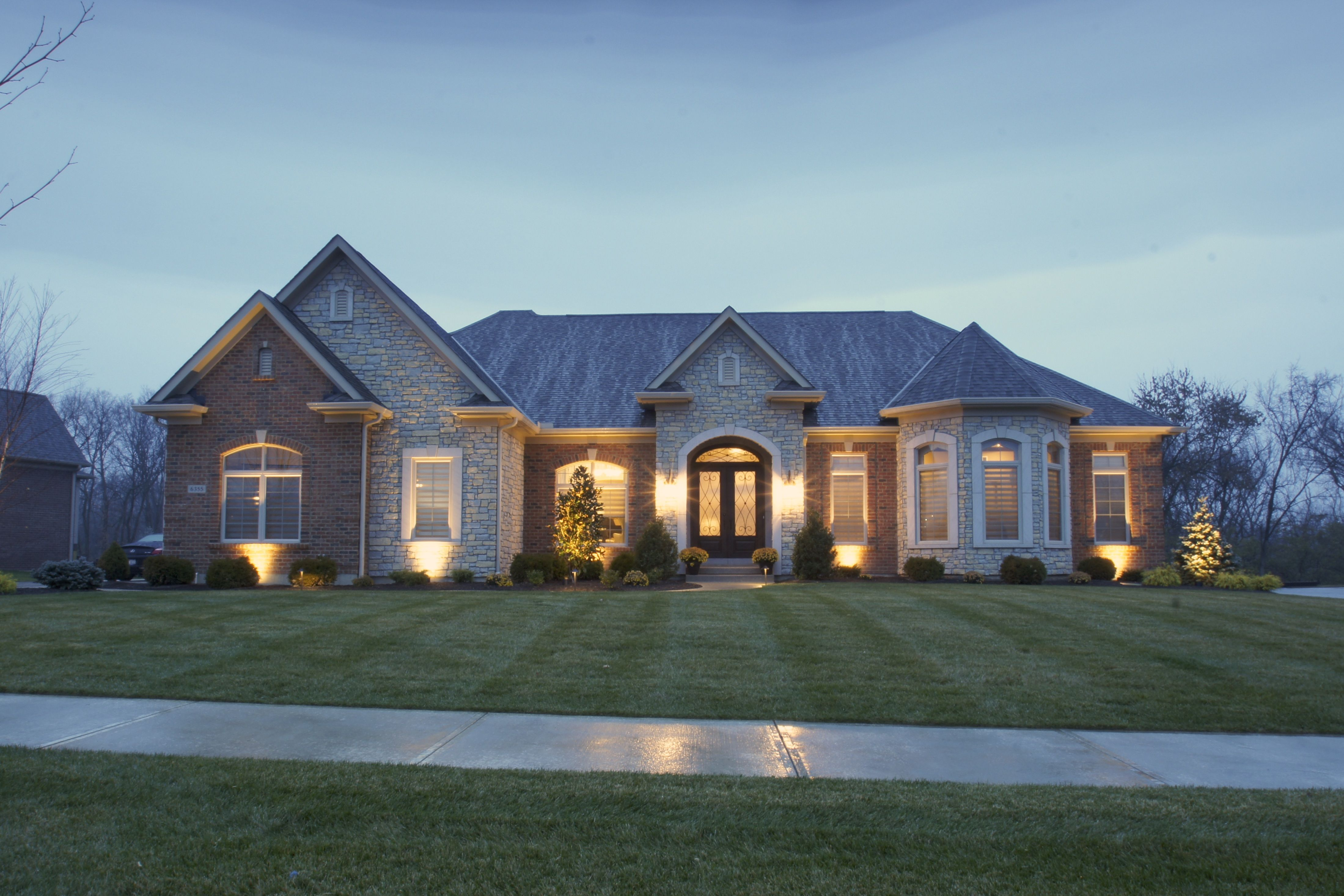 Exterior of custom ranch home built by wieland builders