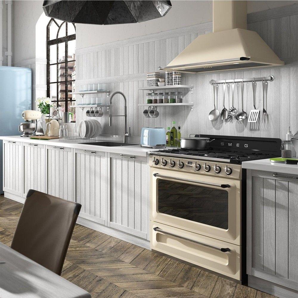 Kitchen Designs Victoria: Smeg TR90P9 Cream 90cm Victoria Range Cooker.