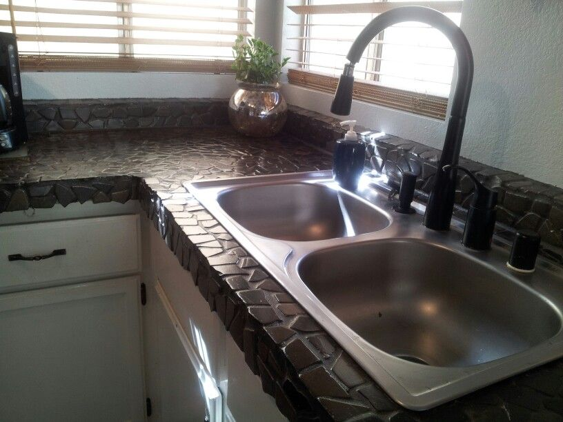 Unique Pebble Rock Tile Kitchen Counter Top DIY. Applied Over Old Laminate  Counter.