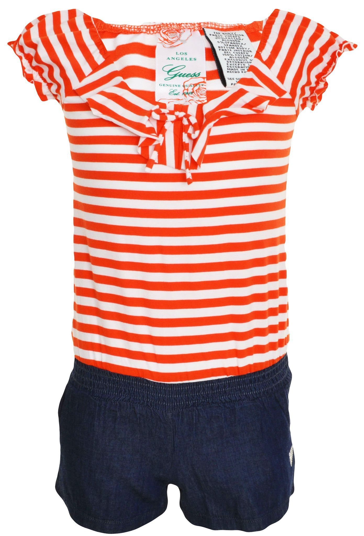 Guess Jeans Girls Shorts Romper Orange Striped