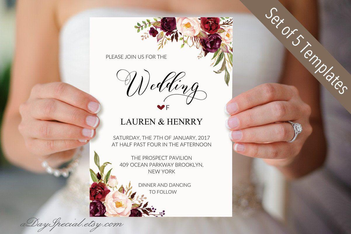 Set of 5 Burgundy Floral Wedding Invitation Templates