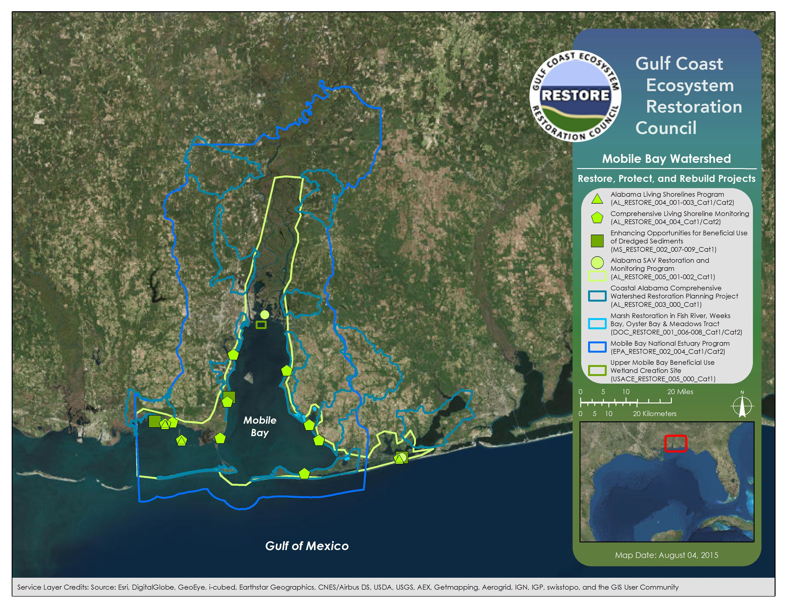 Mobile Bay Al Watershed Estuary Watershed Map
