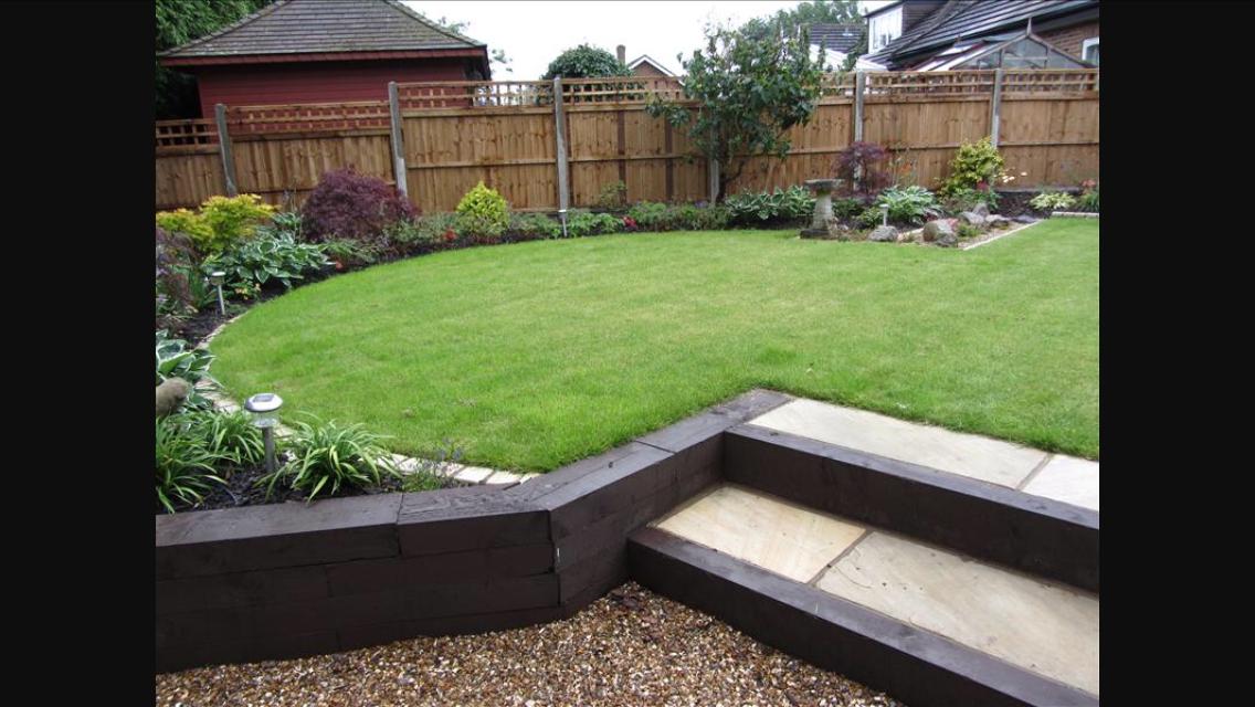 Patio idea for upward sloping garden | Garden and house ... on Garden Ideas For Sloping Gardens id=21447