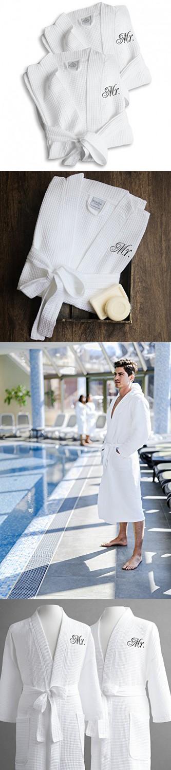 04dc603038 Same-Sex Couple s Waffle Weave Bathrobe Set-100% Egyptian Cotton-Unisex One  Size Fits Most-Spa Robe