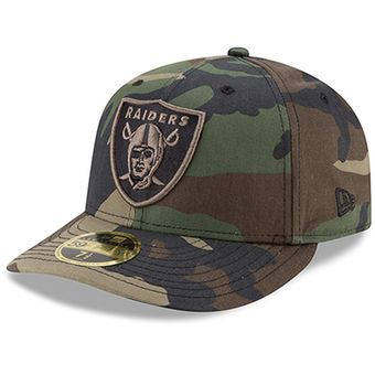 2bc2107164a Oakland Raiders New Era Woodland Camo Low Profile 59FIFTY Fitted Hat