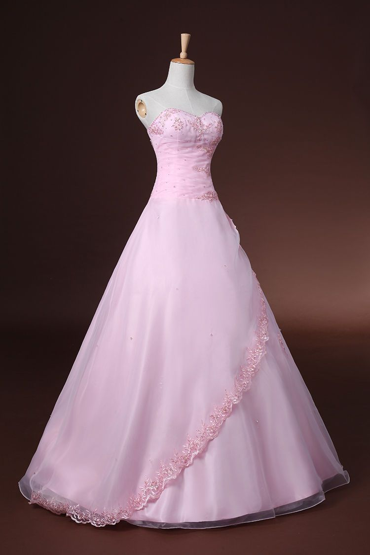 Sale Baby Pink Strapless Long Formal Prom Gown Evening Party Dance ...