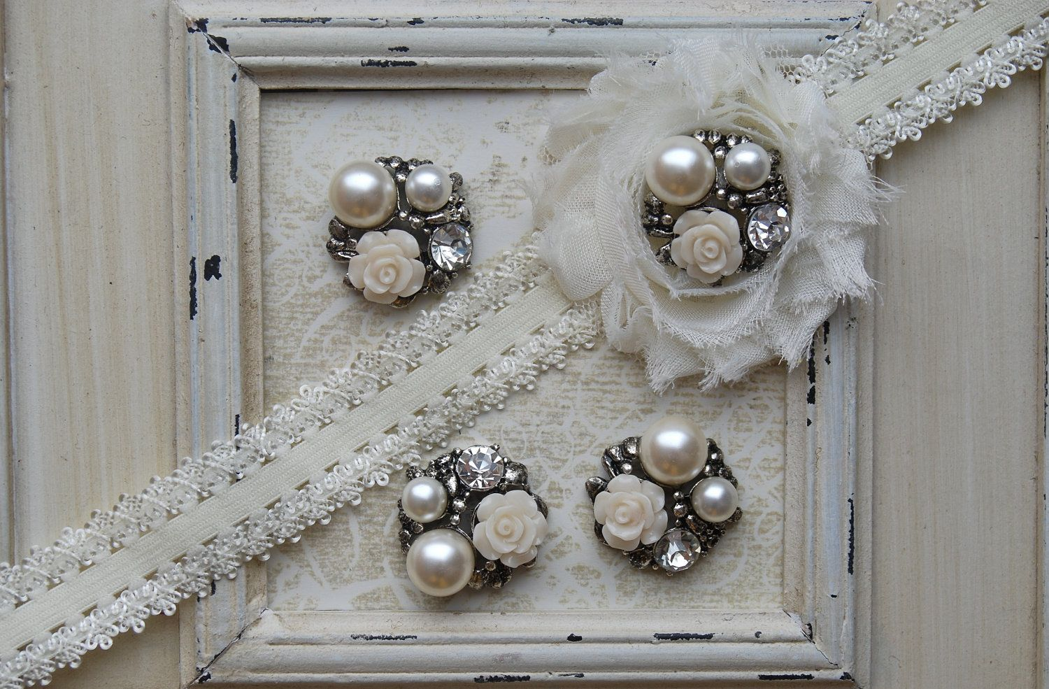 4 Metal IVORY Flower Pearl Cluster Buttons Flatback