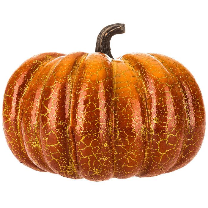 Orange  Gold Crackle Foam Pumpkin Home decor seasonal items - hobby lobby halloween decor