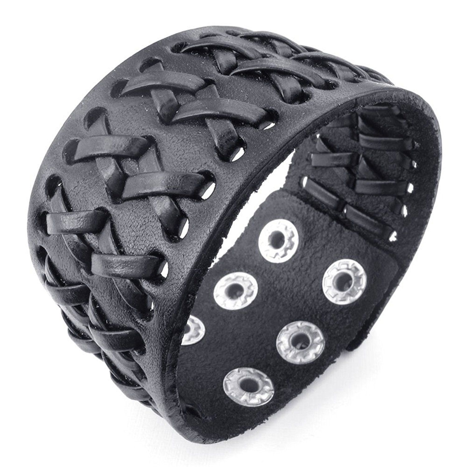 * Penny Deals * - TEMEGO Jewelry Mens Wide Genuine Leather Bracelet,Punk Rock,Cuff Bangle, Fits 6.5'-7.5' -- You can find out more details at the link of the image.