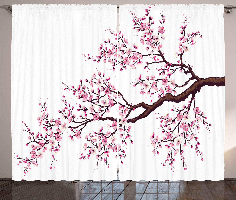 Japanese Curtains 2 Panels Set Branch Of A Flourishing Sakura Tree Flowers Cherry Blossoms Spring Theme Art Window Drapes For Living Room Bedroom 108w X 84l Japanese Shower Cherry Blossom