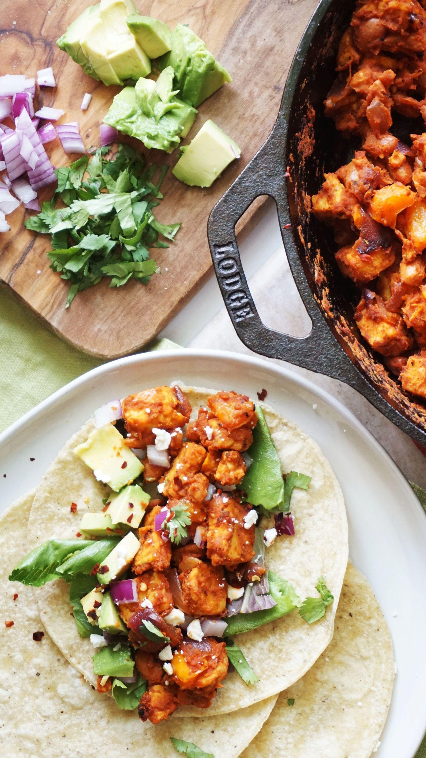 Tempeh Pinto Bean Skillet Tacos Gf Vegan Option Recipes