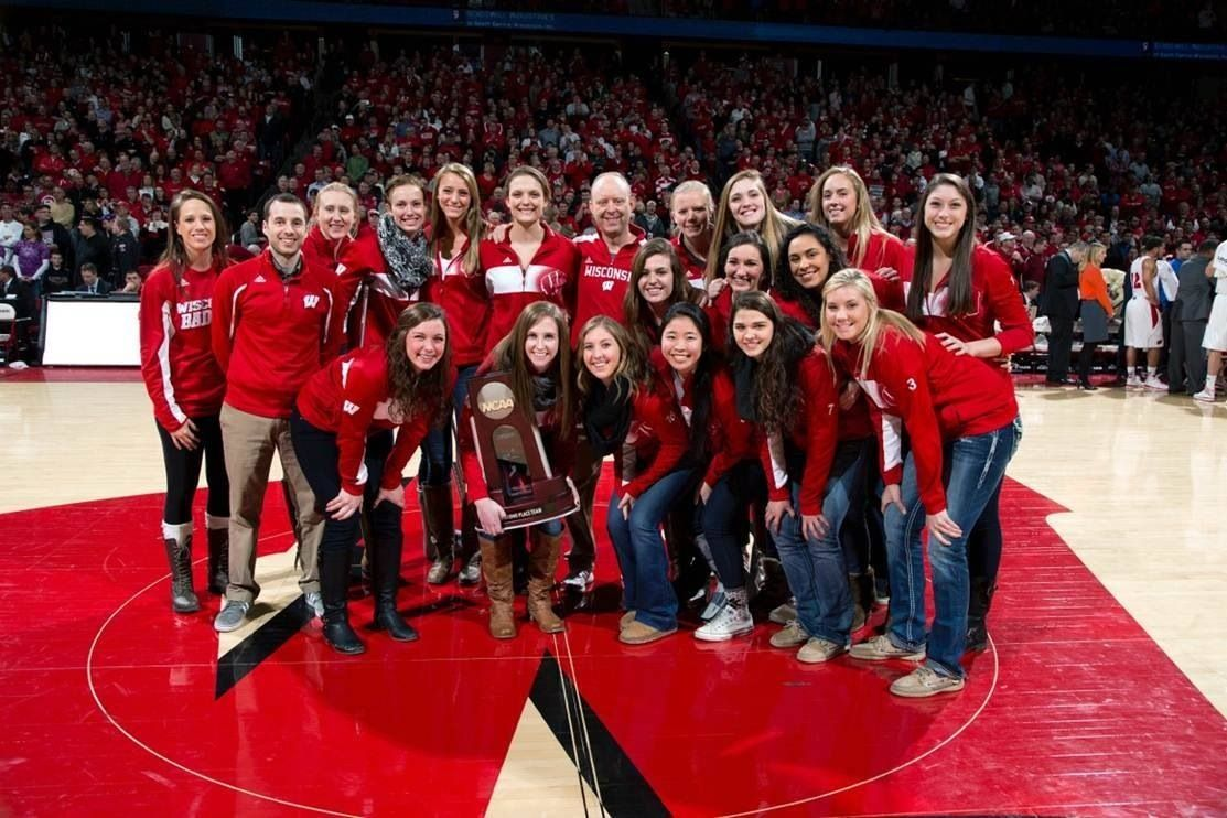 The Badgers Sing Varsity After A Win In The Uw Field House Badger Volleyball Badger National Championship