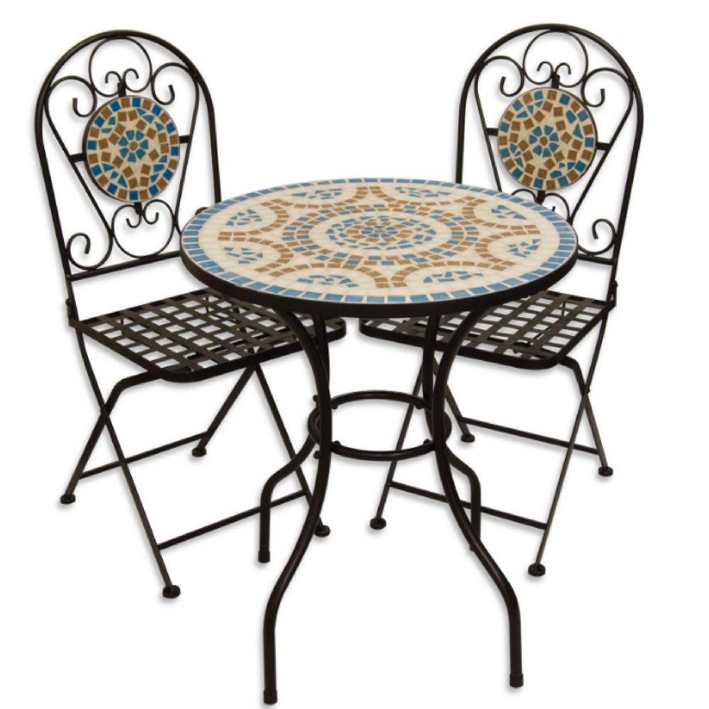 Garden Table And Chairs Set Metal: Bistro Garden Table Set Small Round Mosaic 2 Metal Folding
