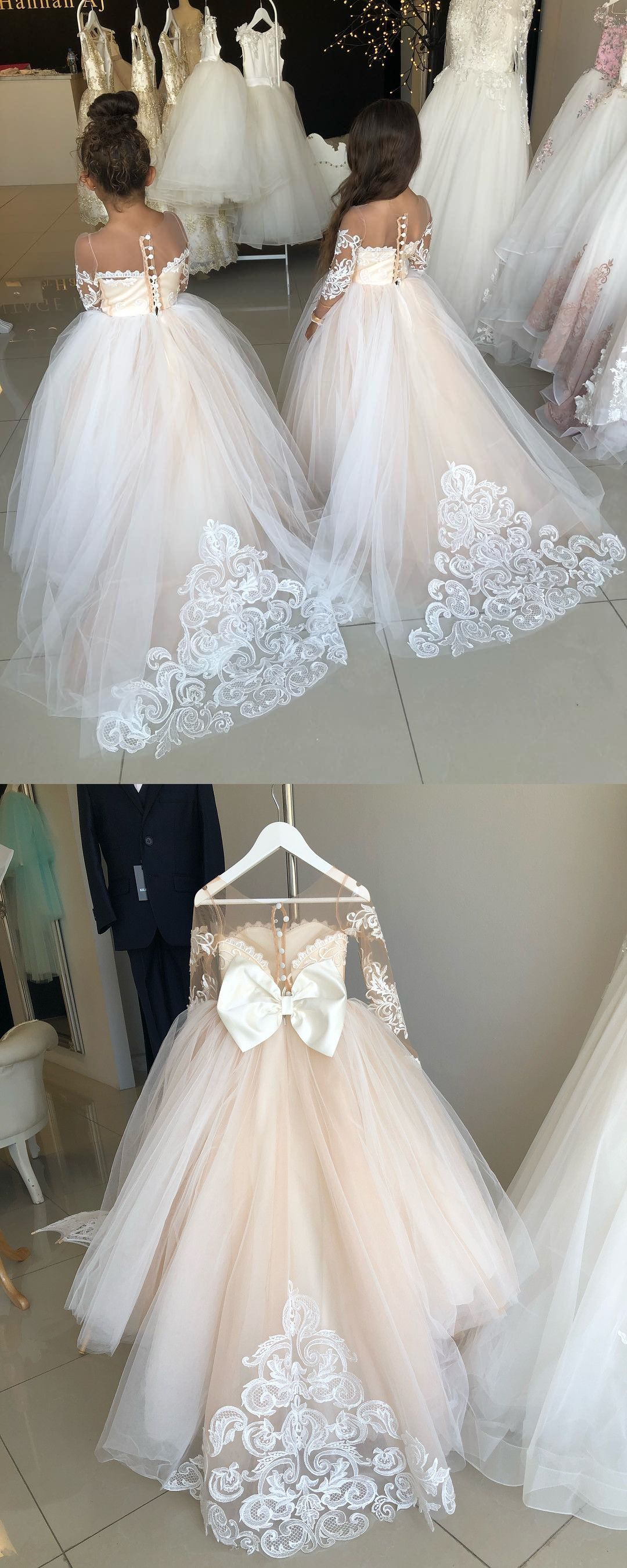 Princess long sleeves long flower girl dress with train wedding