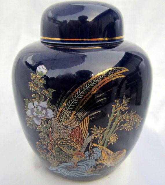 Vintage Oriental Ginger Jar Cobalt Blue Bird Paradise Pheasant Gold Lidded Fl Vase