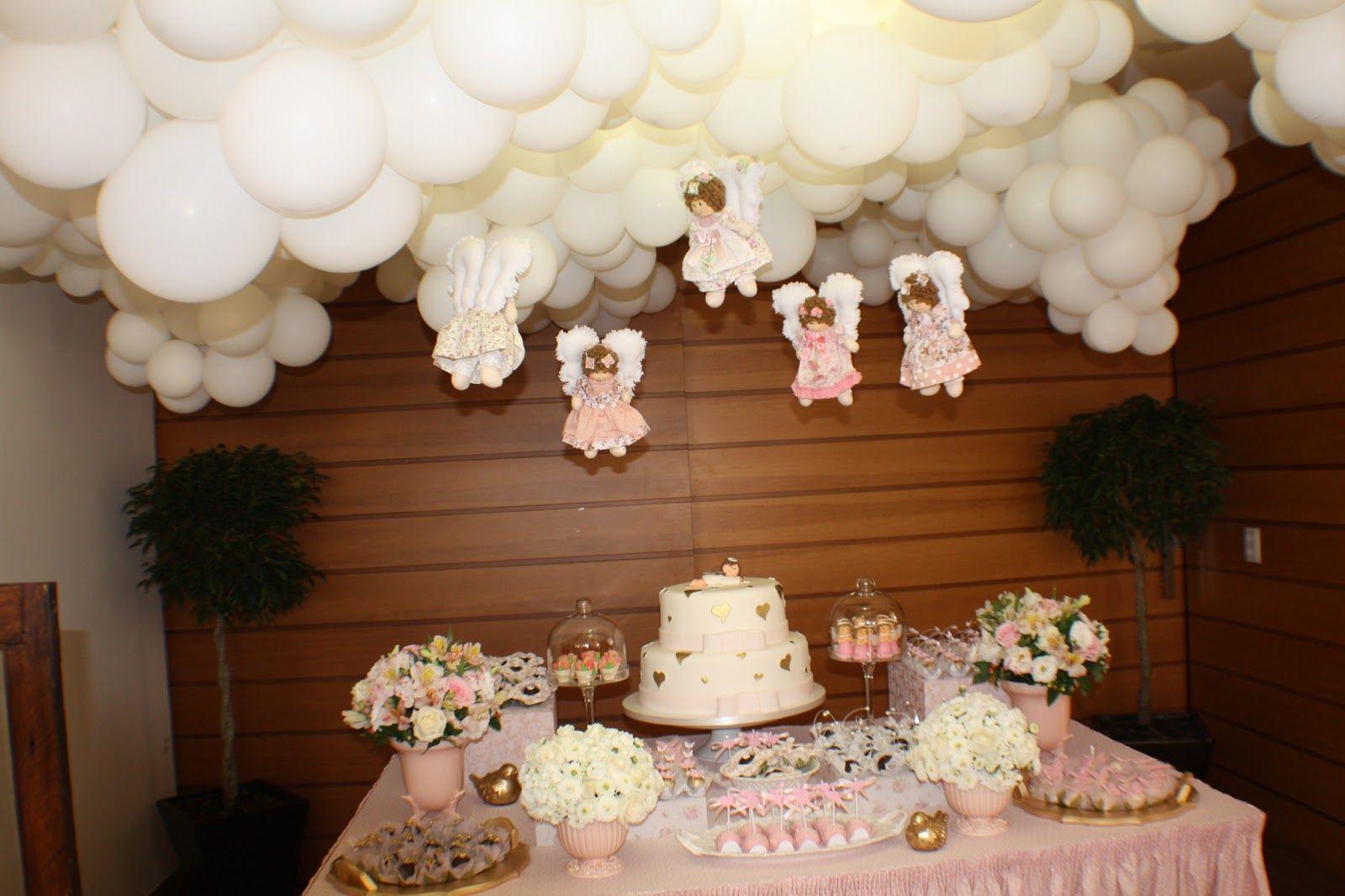 decoraç u00e3o de batizado branco e rosa Pesquisa Google decoraçao Decoraç u00e3o batizado  -> Decoração De Batizado Com Anjos Simples