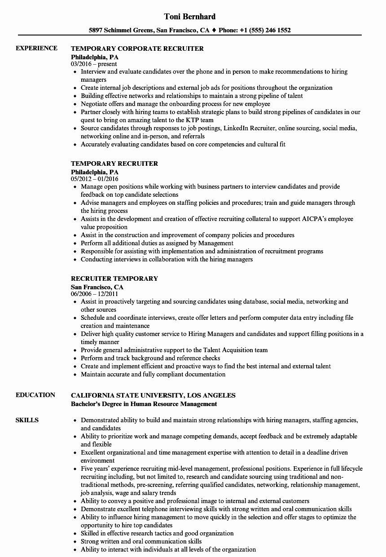 Entry Level Recruiter Resume Unique Temporary Recruiter Resume Samples
