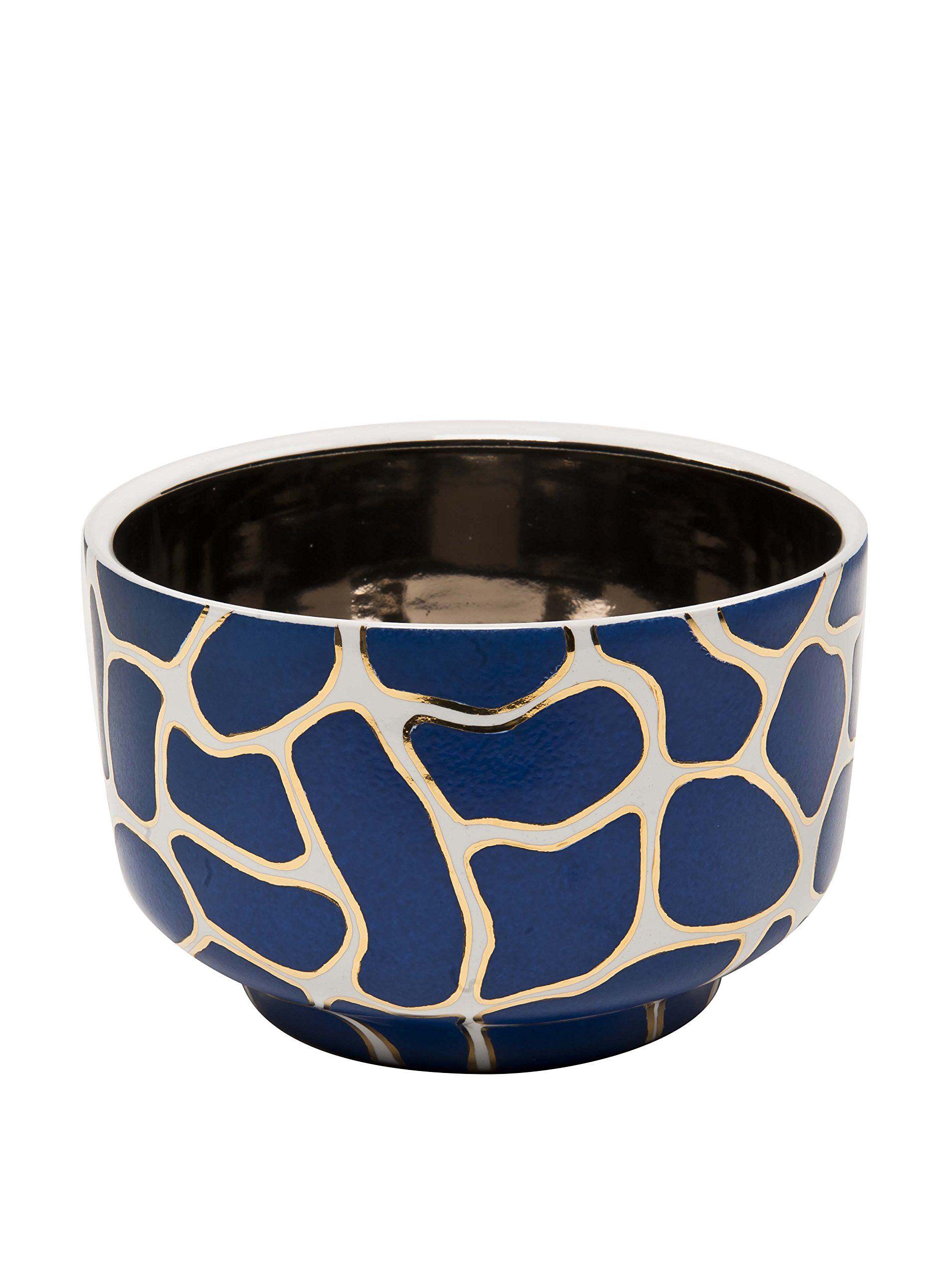 Waylande Gregory Large Giraffe Print Chubby Bowl, Blue/Platinum at MYHABIT