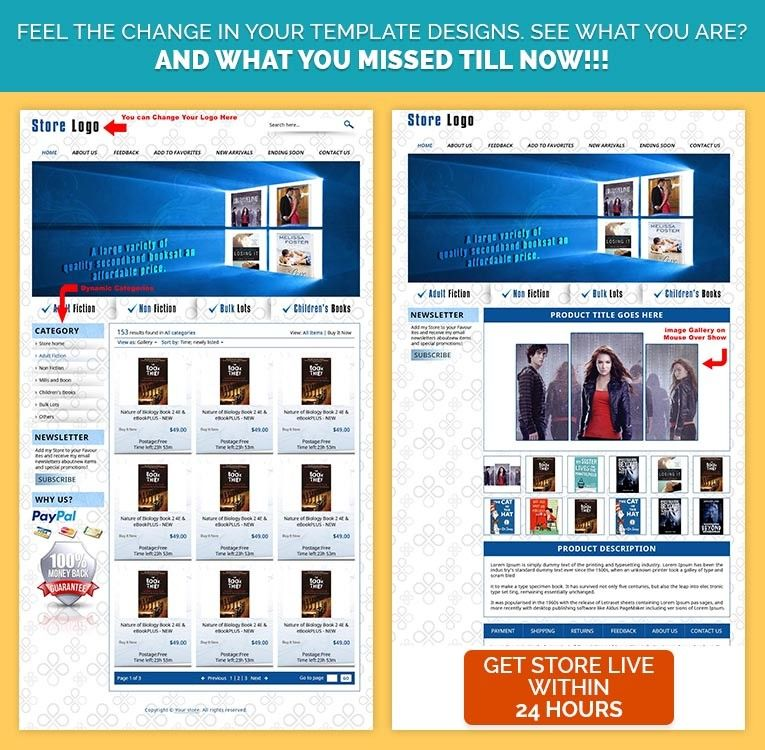 Best Seller Books Theme Design EBay Shop EBay Custom Listing - Ebay selling page template