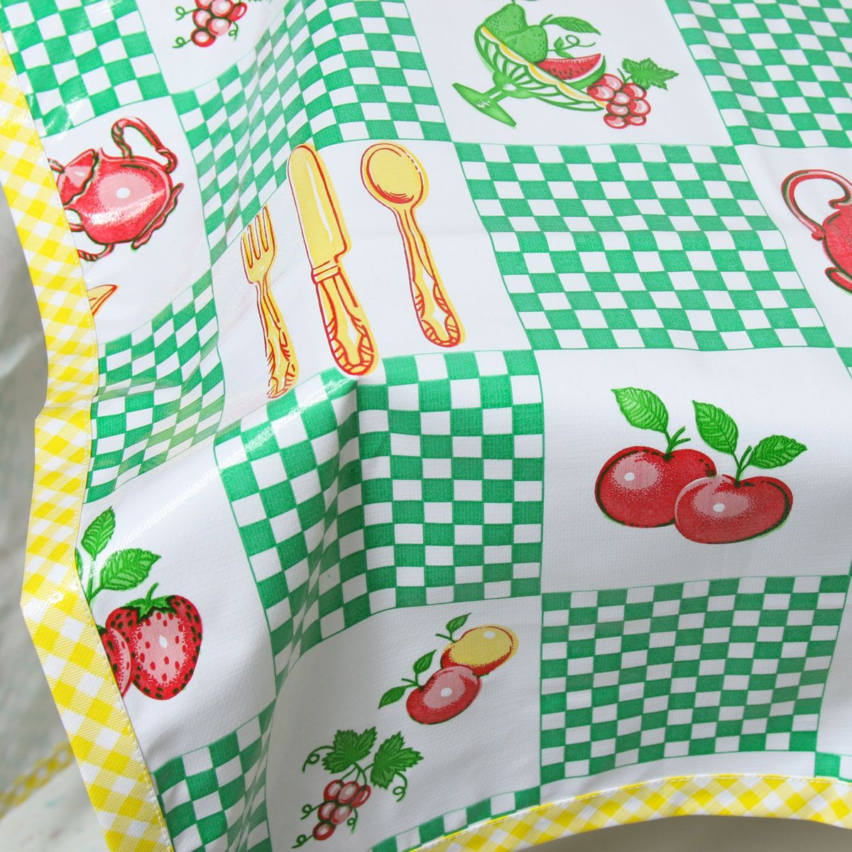 Fruit And Teapots Vintage Style Tablecloth. Heavy Duty Oilcloth Is  Fade Resistant,