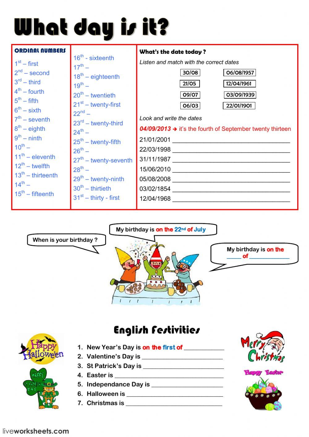 Say The Date Interactive Worksheet English Lessons For Kids English Words Kindergarten Worksheets Printable [ 1413 x 1000 Pixel ]