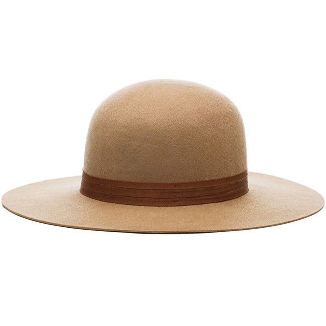 265e460813e The Magdalena is a stiff wide brim round top felt hat with three thin  grosgrain bands.